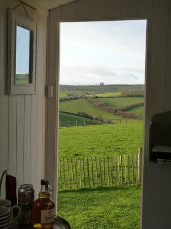 Hideaway Huts at Treworgey: View from the bed