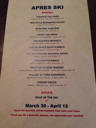 The Truffle Pig: Happy hour food menu