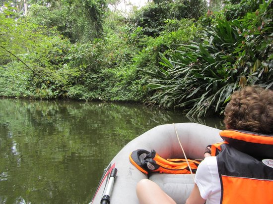 Pachamama Jungle River Lodge: On the Rio Ernesto, using the rentable inflatable boat.