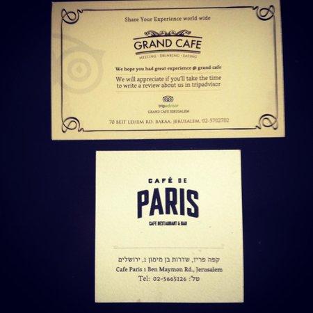 Contact Information for Cafe de Paris.