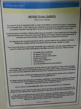 Bunbury Welcome Inn Motel: Rules and Regulations sign in room !!
