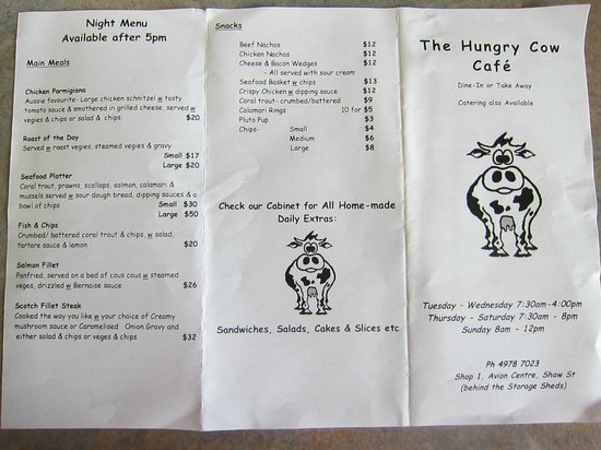 The Hungry Cow Cafe : Menu March 2014