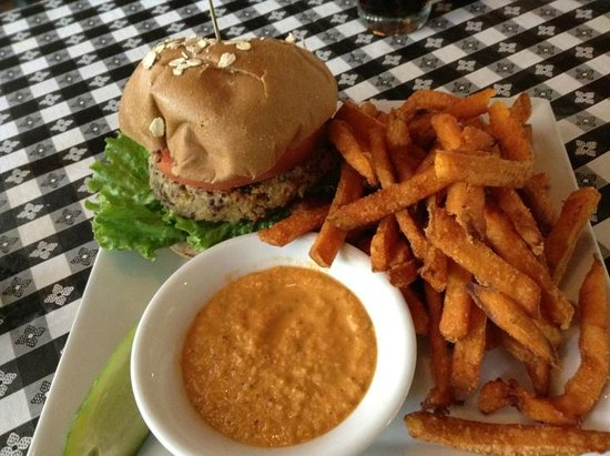 Soyka Restaurant : Veggie burger w/ sweet potato fries.  Very good. (I didn't like that sauce that came with it)