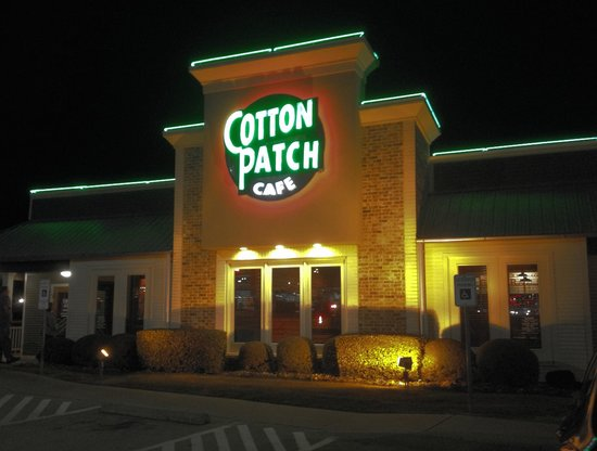 Main entrance to Cotton Patch Cafe in Denison, TX