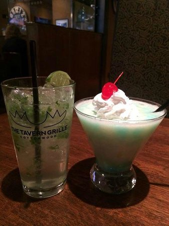 Tavern Grille: Mojito  $8.00 and Blue Skies Colada $7.00