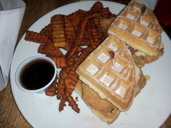 chicken and waffle sandwich at Brews Cafe