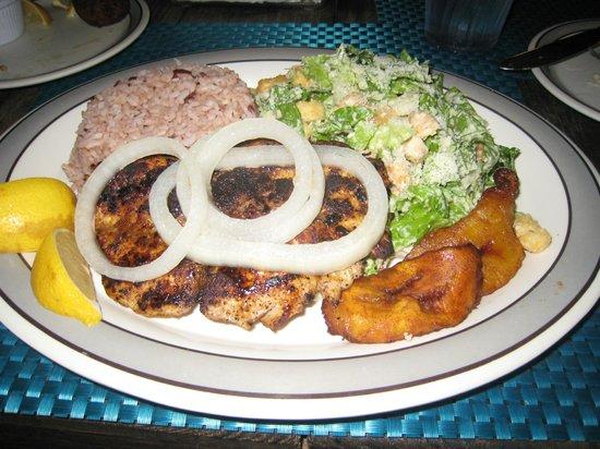 Kurt's Corner: Grilled mahi mahi with plantains, ceasar salad & mixed rice/beans