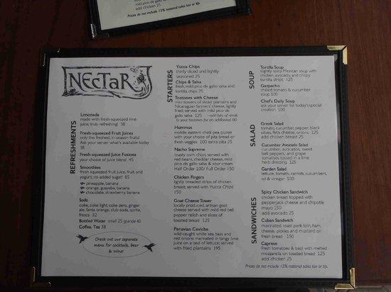Nectar: New Menu Mar 2014