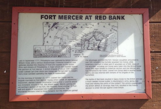 Red Bank Battlefield Park : Red Bank Battlefield includes Fort Mercer