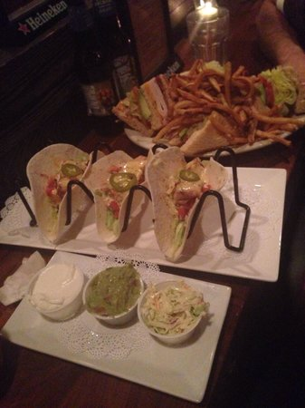 Tavern: Mahi mahi tacos and club sandwich