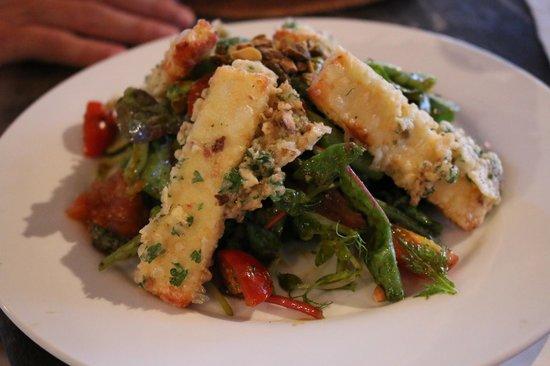 Nam at Bon Ton: Crunchy Pistachio Haloumi, Spinach, Mixed Leaves & Olive Salad w. Chermoula & Harissa Dressing