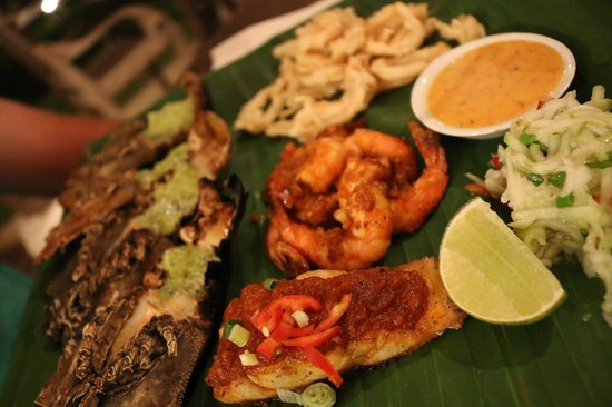 Nam at Bon Ton: Seafood Platter of Grilled Rock Lobster w. Chermoula Butter, Snapper Fillet, Pepper Prawns, Cala