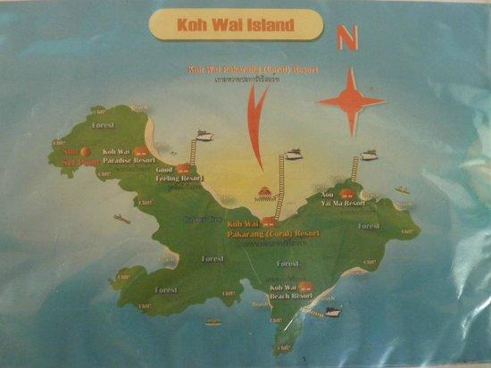 Koh Wai Pakarang Resort : Karte von Koh Wai, Lage der Resorts