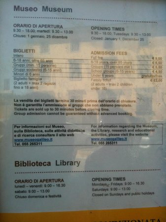 Museo Galileo - Institute and Museum of the History of Science: Open hours & ticket prices