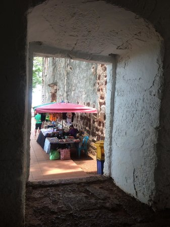 A Famosa Fort: Interior shot looking out onto the many Tourist Hawker stalls