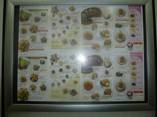 Sand Bar and Grill: Menu in the elevator