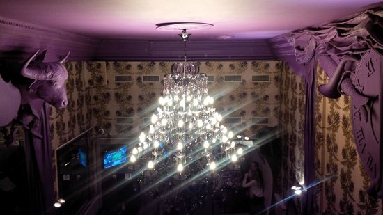 The Tara: From the second floor balcony-quite a chandelier.