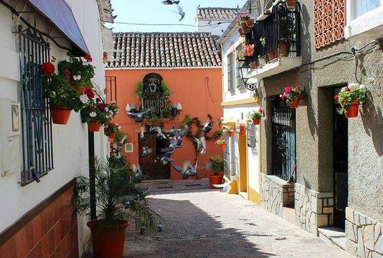 Centro histórico de Estepona: Calle Jose Alvarez with seagulls