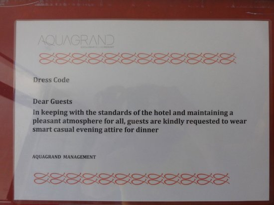 AquaGrand Exclusive Deluxe Resort : Dress code