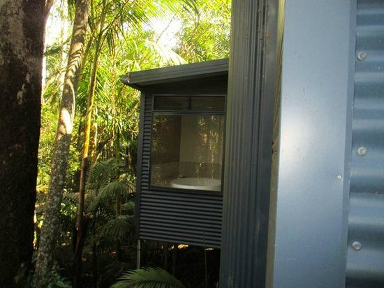 Pethers Rainforest Retreat : An outside view of our double spa bath.