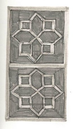 Trident, Agra : drawing of the detail on brickwork at the Trident Hotel