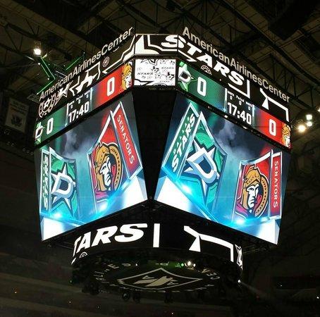 Scoreboard for the American Airlines Center Dallas Stars Game
