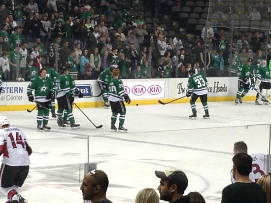 American Airlines Center: The STARS are warming up before the hockey game