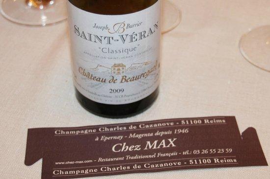 Restaurant Chez Max : Un bon vin : du Saint Veran