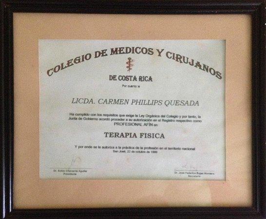 Monteverde Massage: Este es el comprobante del colegio de médicos y cirujanos que me autorizó para ejercer mi profes