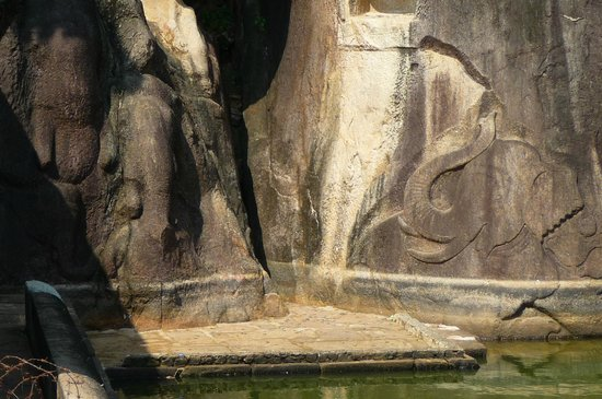 Isurumuniya Temple: olifanten in de rotsen