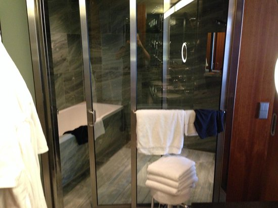 Grand Hyatt Berlin: bathroom/shower