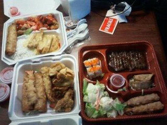 Asiana Gardens: delivery-comination appitizer (A-7), Bento 4, and a Lunch Combo
