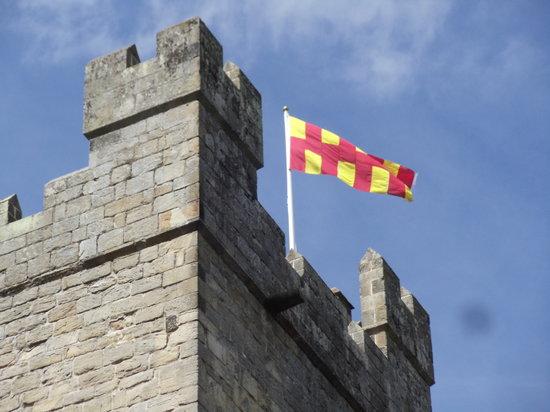 Langley Castle Battlement Tour: Battlements with Northumbrian flag