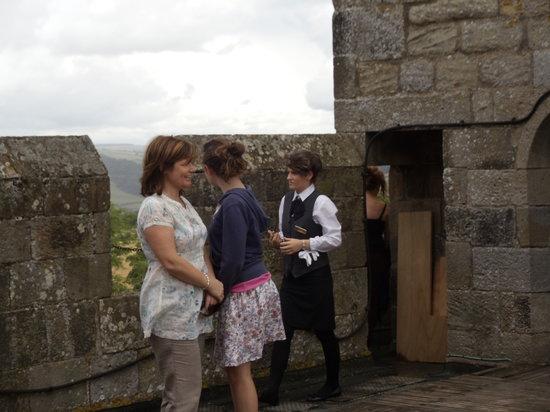 Langley Castle Battlement Tour: People enjoying roof top views