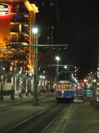 The trolley line outside of the Sleep Inn at Court Square