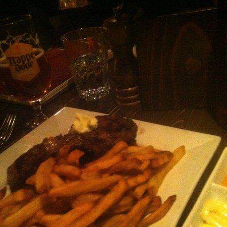 The Trappe door : Ribeye and frites with herb butter, and flavored mayos for dipping.