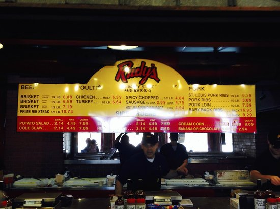 Rudy's Country Store & Bar-B-Q: the menu
