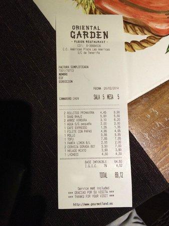 Teppanyaki Oriental Garden: Scontrino