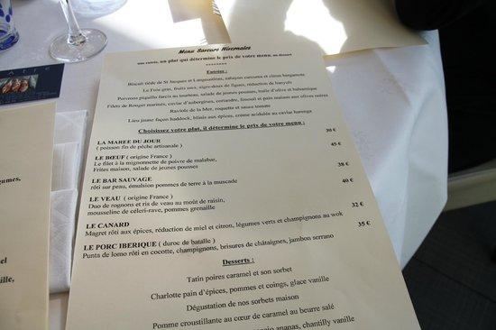 L'Atre : prix du menu en fonction du plat principal