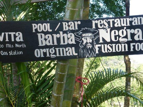 sign in front of Barba Negra restaurant