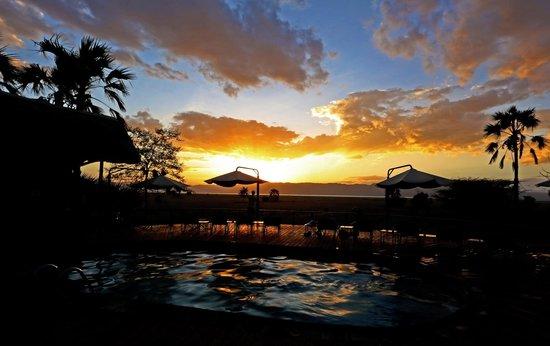 Maramboi Tented Camp: Zwembad met zonsondergang