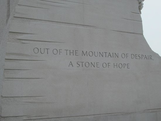 Martin Luther King, Jr. Memorial: Words inscribed on the side of the actual monument