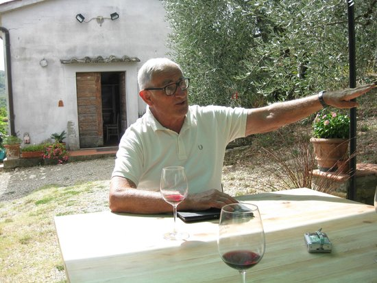 Montefioralle Winery: Patiently answering our questions about wine and olive oil