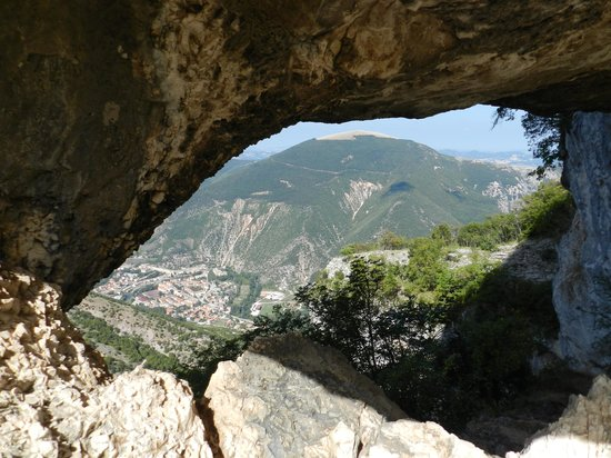 "La Tavola Marche Agriturismo & Cooking School: View of Piobbico from Balza Forata (""Window in the Rock""), the summit of our day hike"