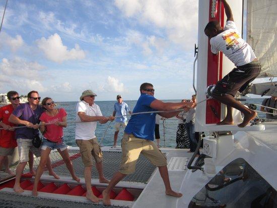 Aqua Mania Adventures : Alex dd a great job hoisting the sail!