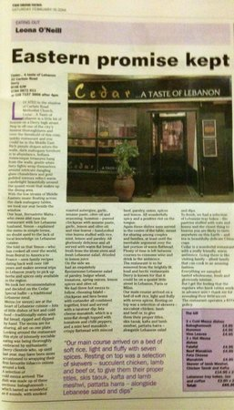 Cedar A taste of Lebanon : Irish news review feb 15th 2014
