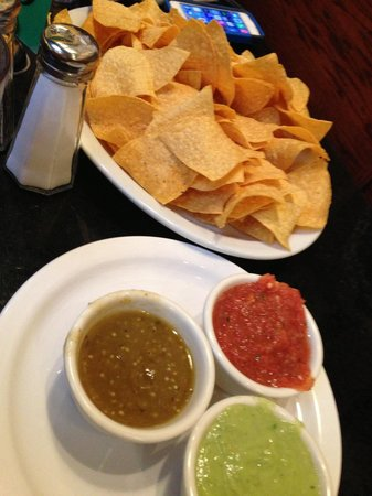 Pepe Delgado's: Sampler or chips and trio of sauces