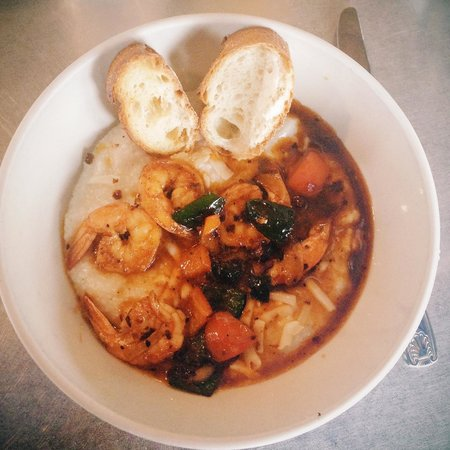 Ria's Bluebird: Shrimp and Grits - a Southern Classic with a Spiced Maple Broth