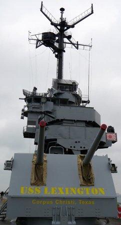 USS LEXINGTON: Upward view from Flight Deck