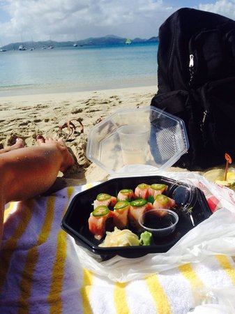 Caneel Bay Resort: Beach side sushi?! What more could you ask for! Delicious too!